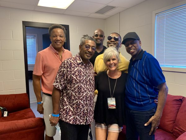 Me standing with The Spinners back stage following our interview. Henry, CJ, Jessie, Ronnie, Marvin